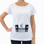 Dj Mixing Turntables 1600 Clr Maternity White T-Shirt
