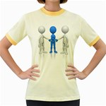 Three Way Hand Shake Pc 1600 Clr Women s Fitted Ringer T-Shirt