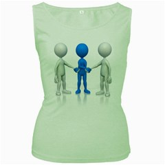 Three Way Hand Shake Pc 1600 Clr Women s Green Tank Top from ArtAttack2Go Front