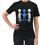Three Way Hand Shake Pc 1600 Clr Women s Black T-Shirt (Two Sides)