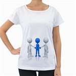 Three Way Hand Shake Pc 1600 Clr Maternity White T-Shirt
