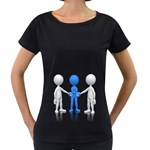 Three Way Hand Shake Pc 1600 Clr Maternity Black T-Shirt