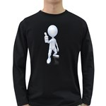 Stick Figure Thumbs Up 1600 Clr Long Sleeve Dark T-Shirt