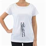 Stick Figure Climbing Ladder 1600 Clr Maternity White T-Shirt