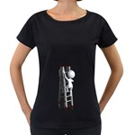 Stick Figure Climbing Ladder 1600 Clr Maternity Black T-Shirt