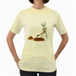 Shoveling Hole Pc 1600 Clr Women s Yellow T-Shirt