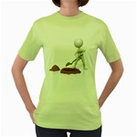 Shoveling Hole Pc 1600 Clr Women s Green T-Shirt