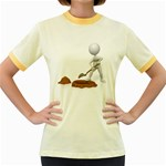Shoveling Hole Pc 1600 Clr Women s Fitted Ringer T-Shirt
