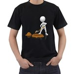 Shoveling Hole Pc 1600 Clr Black T-Shirt (Two Sides)