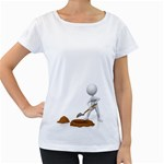 Shoveling Hole Pc 1600 Clr Maternity White T-Shirt