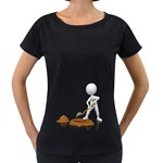 Shoveling Hole Pc 1600 Clr Maternity Black T-Shirt
