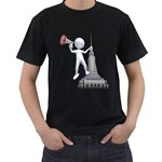 Shout From Roof 1600 Clr Black T-Shirt (Two Sides)