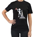 Shout From Roof 1600 Clr Women s Black T-Shirt (Two Sides)