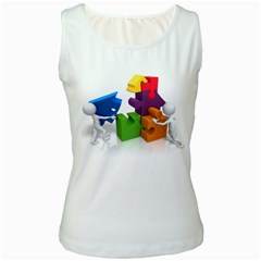 Puzzle Pieces House Teamwork 1600 Clr Women s Tank Top from ArtAttack2Go Front