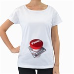 Panic Button 1600 Clr Maternity White T-Shirt