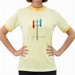 Heaven Hell Traffic Sign Pc 1600 Clr Women s Fitted Ringer T-Shirt
