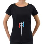 Heaven Hell Traffic Sign Pc 1600 Clr Maternity Black T-Shirt