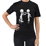 Heated Conversation Pc Women s Black T-Shirt (Two Sides)