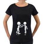 Heated Conversation Pc Maternity Black T-Shirt