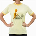 Lend A Helping Hand 1600 Clr Women s Fitted Ringer T-Shirt
