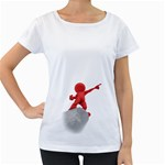 Figure Point Cliff 1600 Clr Maternity White T-Shirt