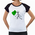 Figure Holding Green Flag 1600 Clr Women s Cap Sleeve T
