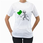 Figure Holding Green Flag 1600 Clr Women s T-Shirt