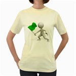 Figure Holding Green Flag 1600 Clr Women s Yellow T-Shirt