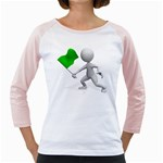 Figure Holding Green Flag 1600 Clr Girly Raglan