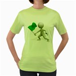 Figure Holding Green Flag 1600 Clr Women s Green T-Shirt