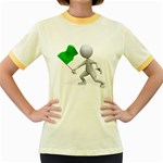 Figure Holding Green Flag 1600 Clr Women s Fitted Ringer T-Shirt