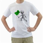 Figure Holding Green Flag 1600 Clr White T-Shirt