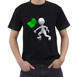 Figure Holding Green Flag 1600 Clr Black T-Shirt (Two Sides)