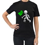 Figure Holding Green Flag 1600 Clr Women s Black T-Shirt (Two Sides)
