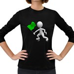Figure Holding Green Flag 1600 Clr Women s Long Sleeve Dark T-Shirt