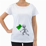 Figure Holding Green Flag 1600 Clr Maternity White T-Shirt