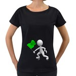 Figure Holding Green Flag 1600 Clr Maternity Black T-Shirt