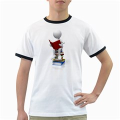 Stick Figure Sitting On Books 1600 Clr Ringer T from ArtAttack2Go Front