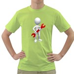 Stick Figure Holding Wrench 1600 Clr Green T-Shirt