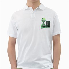 Stick Figure Customer Service Golf Shirt from ArtAttack2Go Front