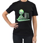 Stick Figure Customer Service Women s Black T Front