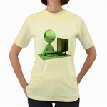 Stick Figure Customer Service Women s Yellow T Front