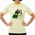 Stick Figure Crank Money Ca 1600 Clr Women s Fitted Ringer T-Shirt