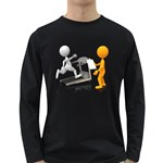Personal Trainer With Treadmill 1600 Clr Long Sleeve Dark T-Shirt