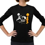 Personal Trainer With Treadmill 1600 Clr Women s Long Sleeve Dark T-Shirt