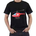 Medical Helicopter Pc 1600 Clr Black T-Shirt (Two Sides)