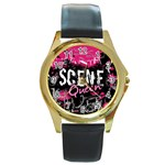 Scene Queen Round Gold Metal Watch