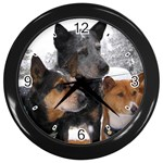 Australian Cattle Dogs Wall Clock (Black)