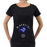 Matariki Names Maternity Black T-Shirt