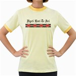 Ngati Kuri Te Iwi Patiki Design Women's Fitted Ringer T-Shirt